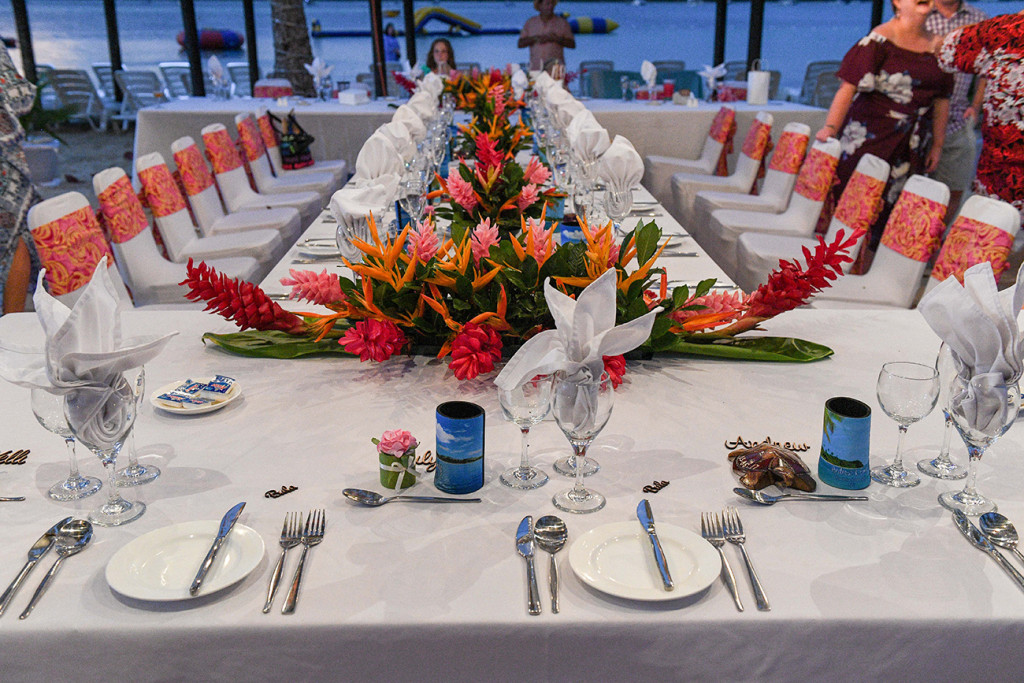Tropical flower arrangement for wedding reception in Plantation Island Resort Wedding