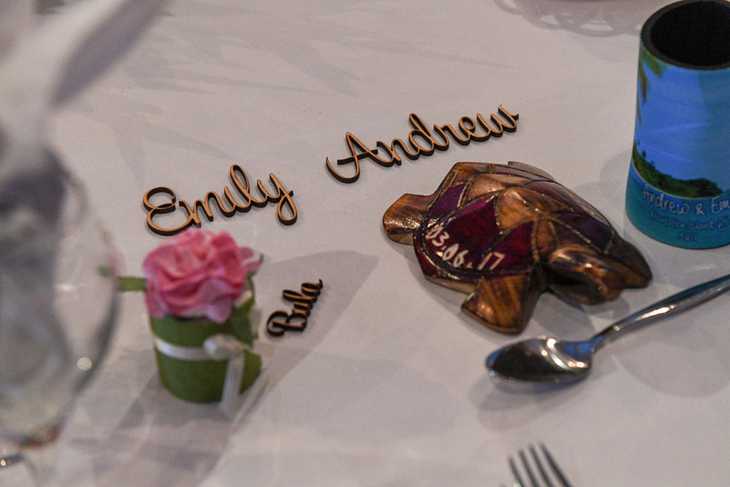Emily & Andrew married wedding placards on table.