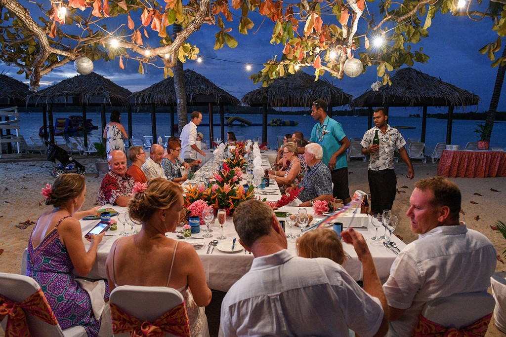 Wedding reception at night in Plantation Island Resort