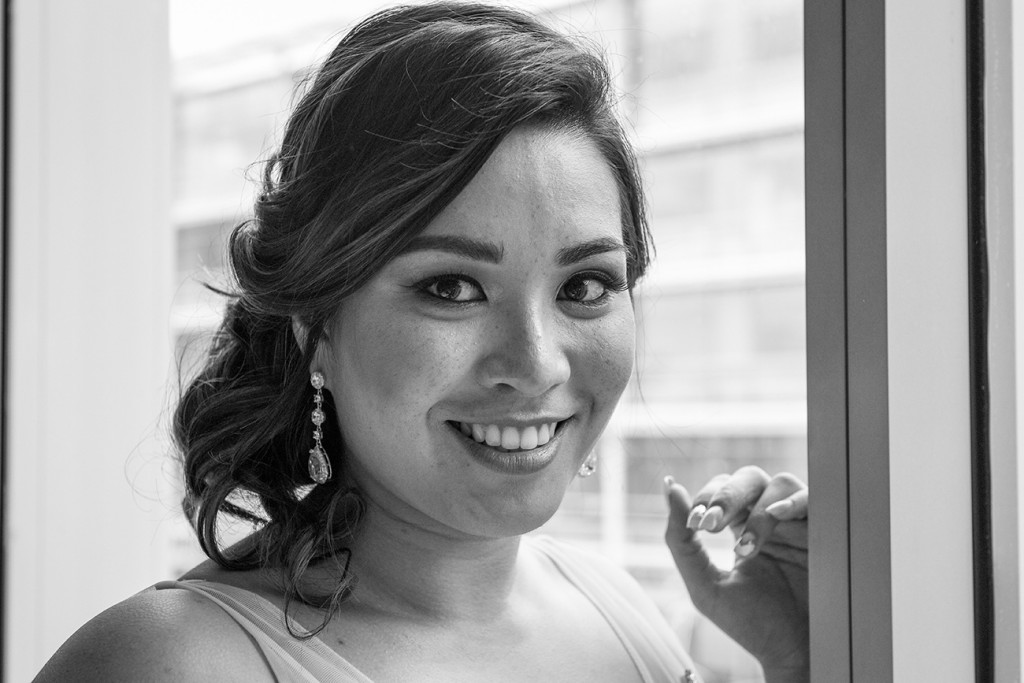 Stunning black and white portrait of bride at Sofitel Auckland