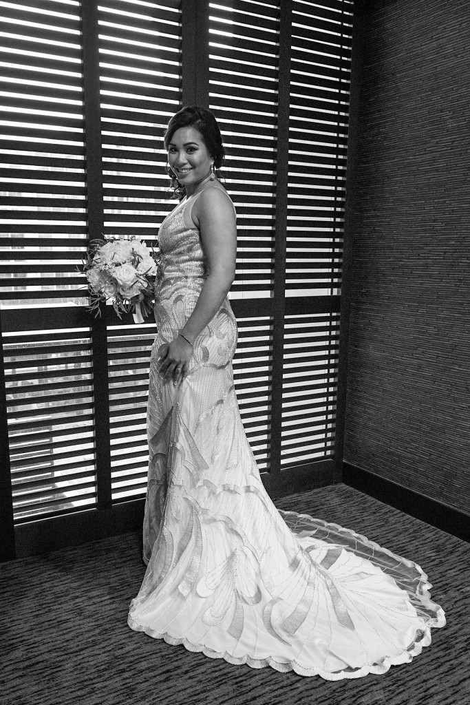 Stunning full length black and white photo of the bride at the Sofitel Auckland