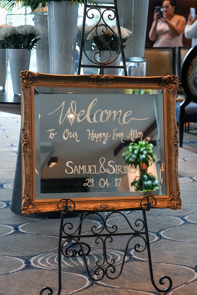 Welcome sign outside the wedding venue