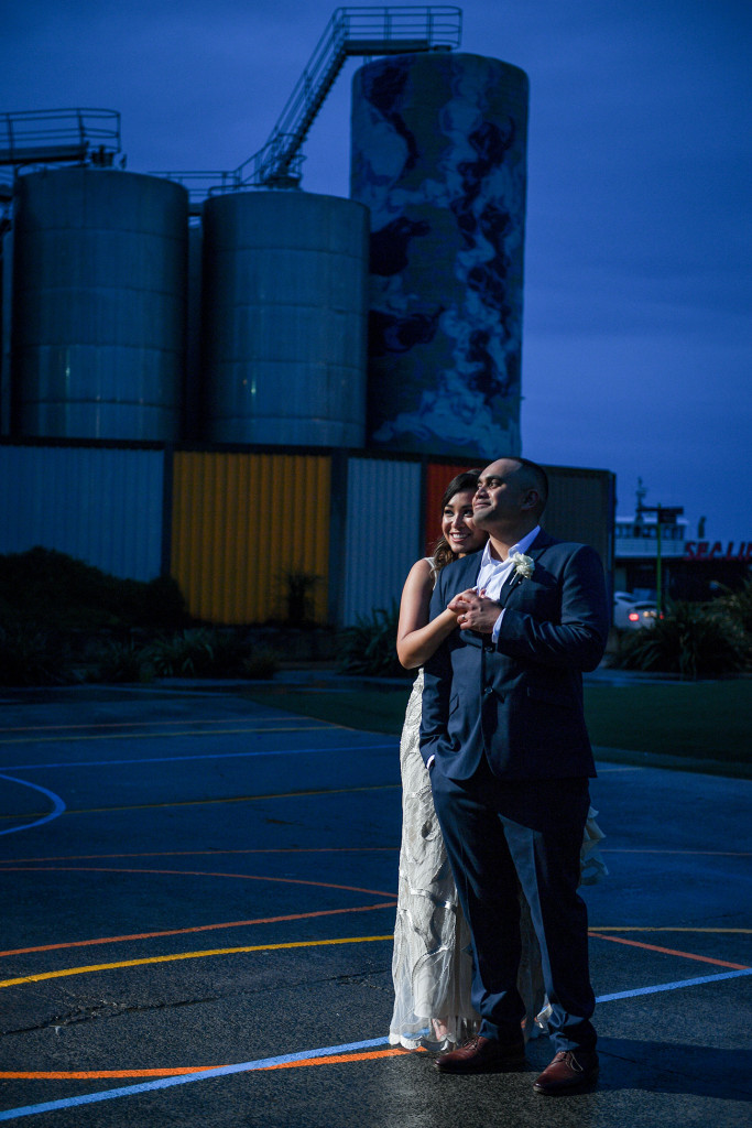 Night shoot of bride and groom at the Auckland Viaduct