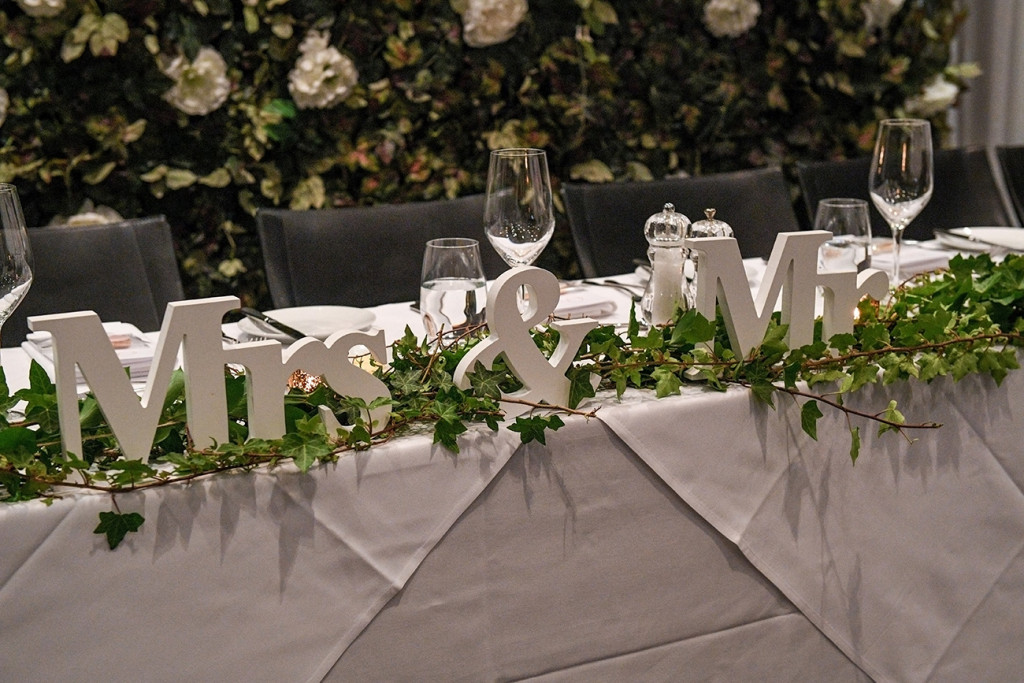 Mr & Mrs table decorations at the Sofitel Auckland