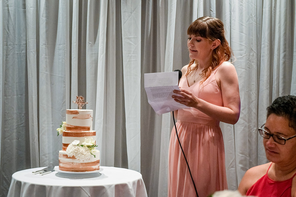 Bride's sister makes a speech at the wedding reception