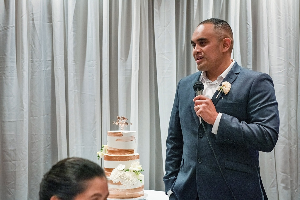 Groom gives speech at the wedding reception at the Sofitel Auckland