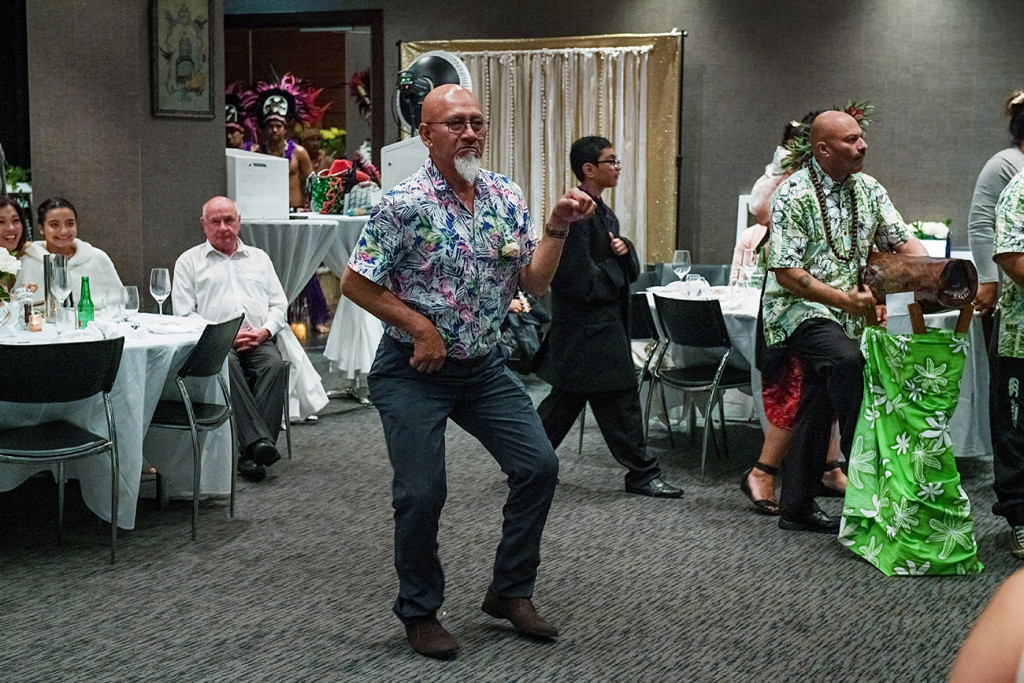 Wedding guests dance at the reception in Auckland Sofitel at the Viaduct
