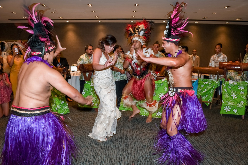 Bride joins Traditional Polynesian dance performed at the wedding in Sofitel Auckland