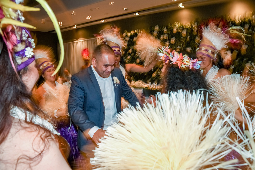 Groom joins Traditional Polynesian dance performed at the wedding in Sofitel Auckland
