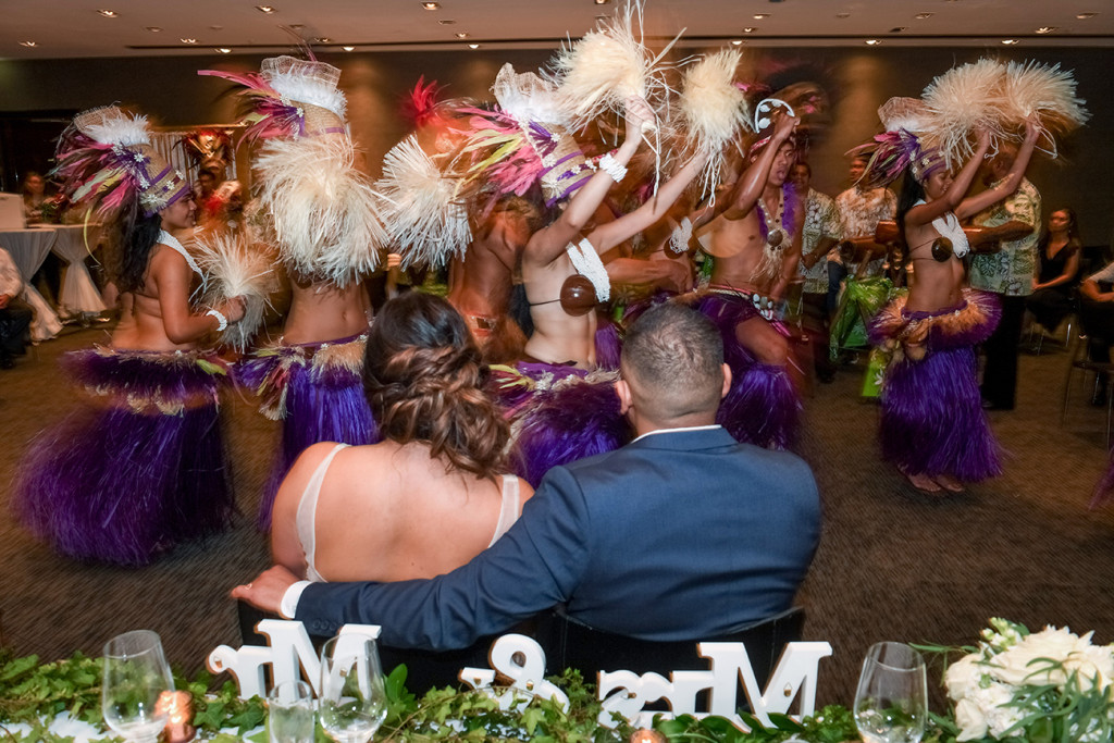 Bride & Groom watch Traditional Polynesian dance performed at the wedding in Sofitel Auckland