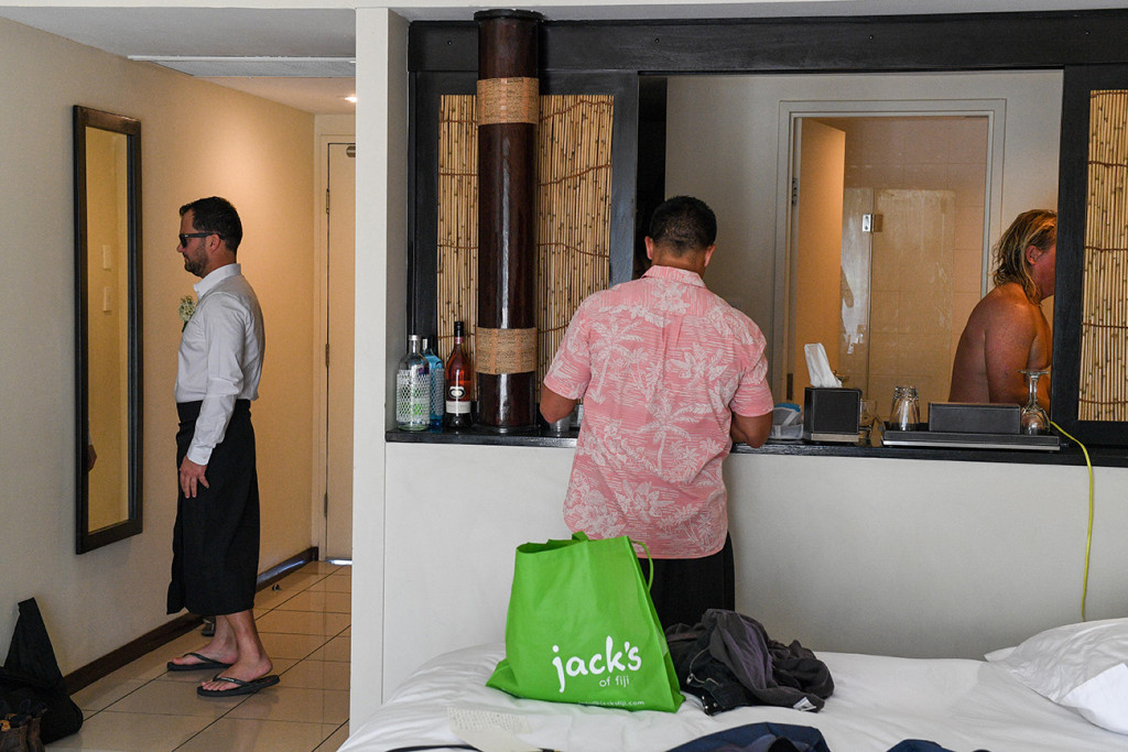Groomsmen getting ready at the Sofitel Fiji