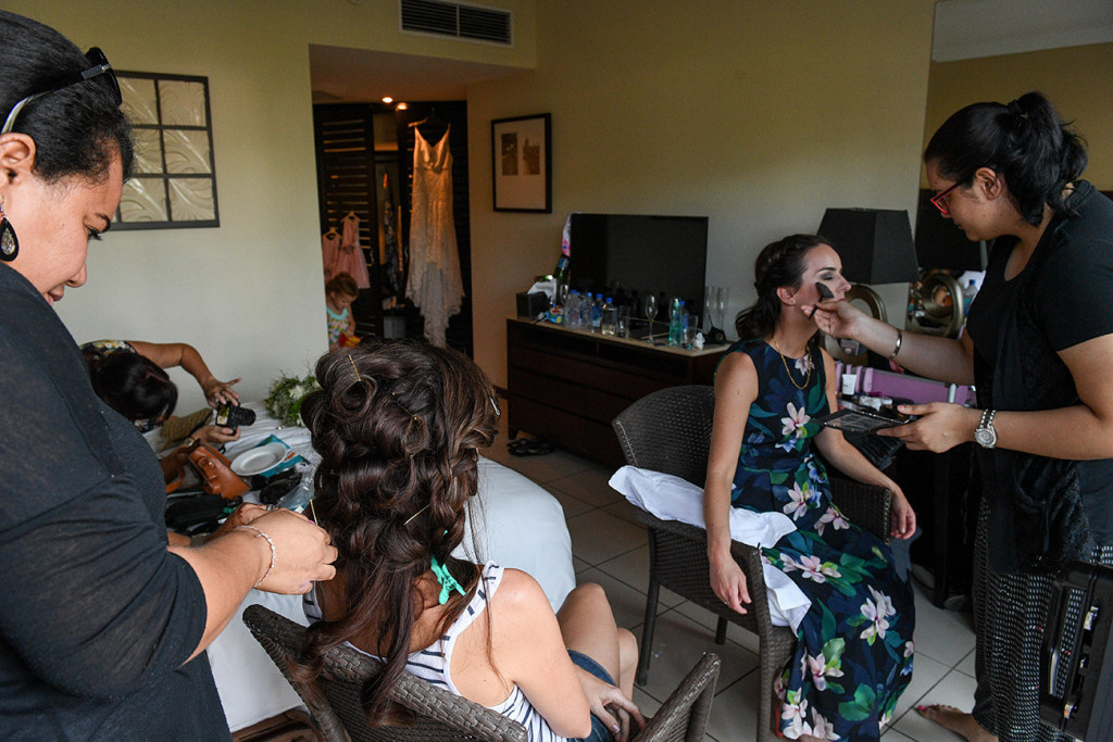 Final touch ups for bridal party at the Sofitel Fiji