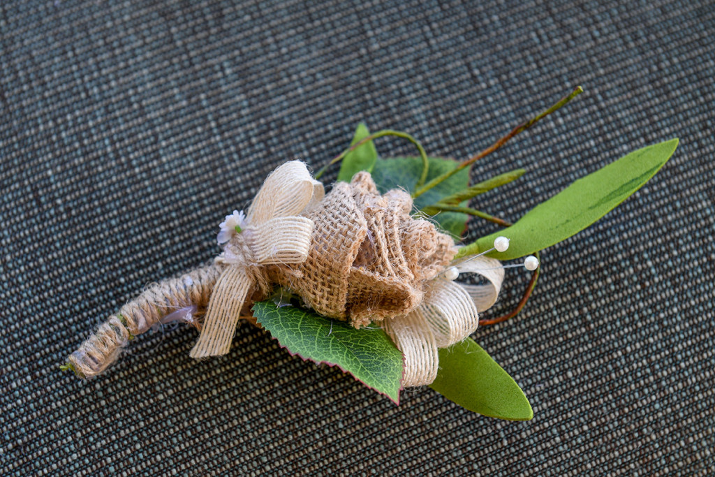 DIY burlap ribbon and white rose boho wedding bouquet