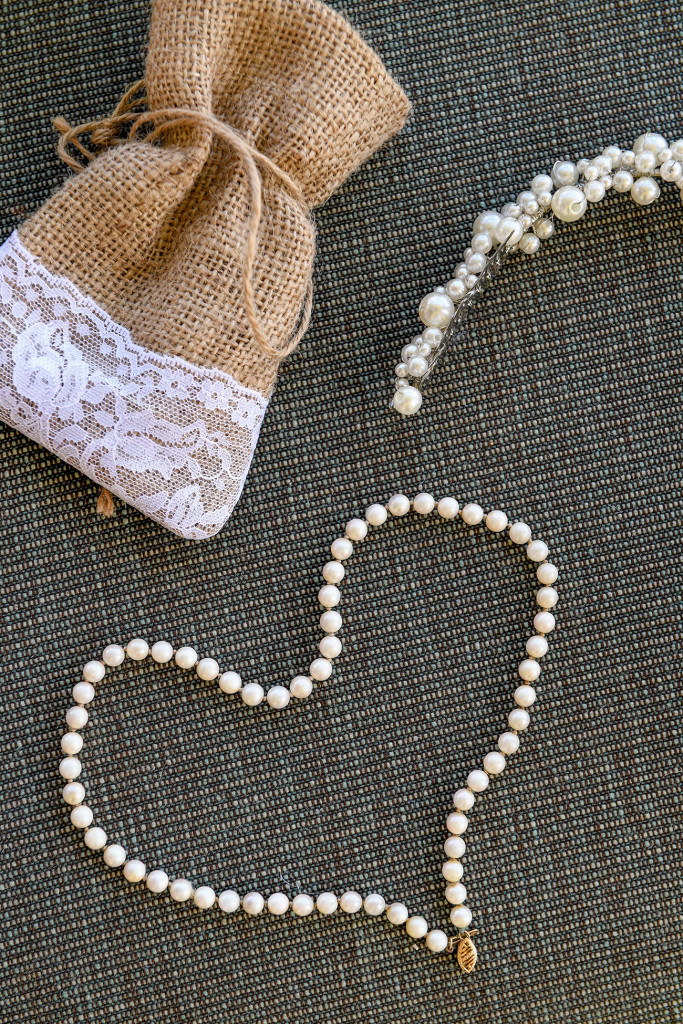 Heart shaped Pearl necklace in Fiji bohemian wedding