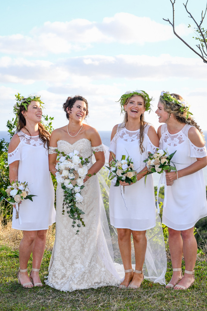 Bride with bohemian bridesmaids at the Outrigger Fiji