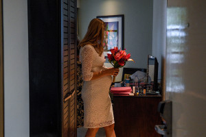 Bride leaving her room to go to the ceremony for her elopement