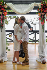 The bride and groom first kiss the elopement ceremony in Fiji