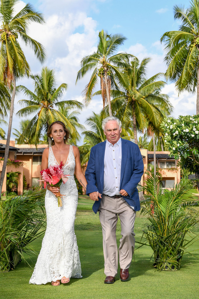 Stunning bride walks down the aisle with her father at the Sheraton Denarau Fiji