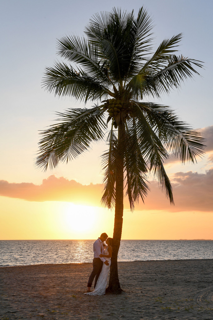 Silhouette of newly married couple embracing against a Fiji palm tree