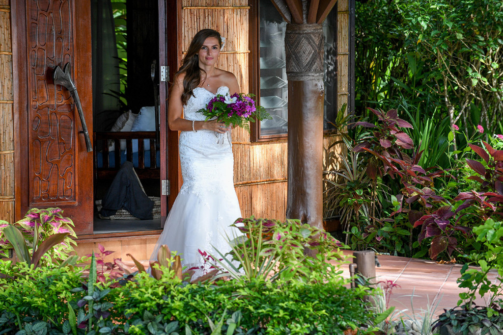 The bride entering the wedding ceremony, Matangi island resort in Fiji