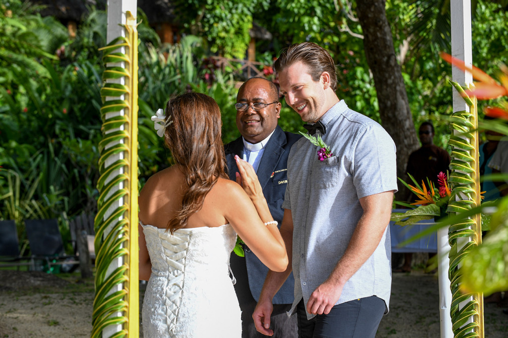 Arrival of the bride at the wedding ceremony, Matangi island resort, Fiji