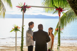 wedding ceremony by the sea, Matangi island in Fiji