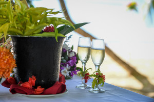 Champagne glasses at the wedding, Matangi island resort Fiji
