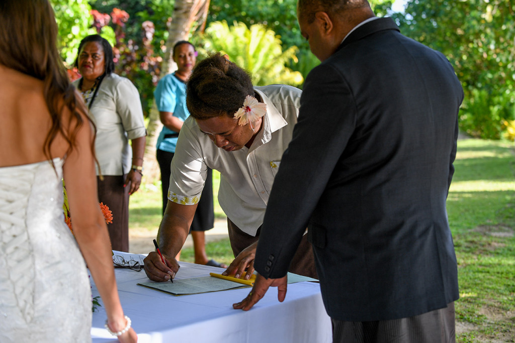 Signature of the wedding certificate, Matangi island resort in Fiji