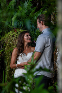 Married couple in the Fijian rainforest, Matangi island resort in Fiji