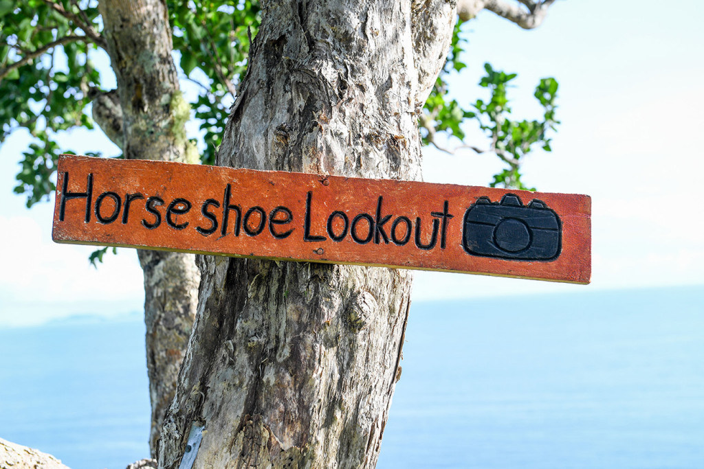 Horseshoe lookout sign view, Matangi Island resort, Fiji