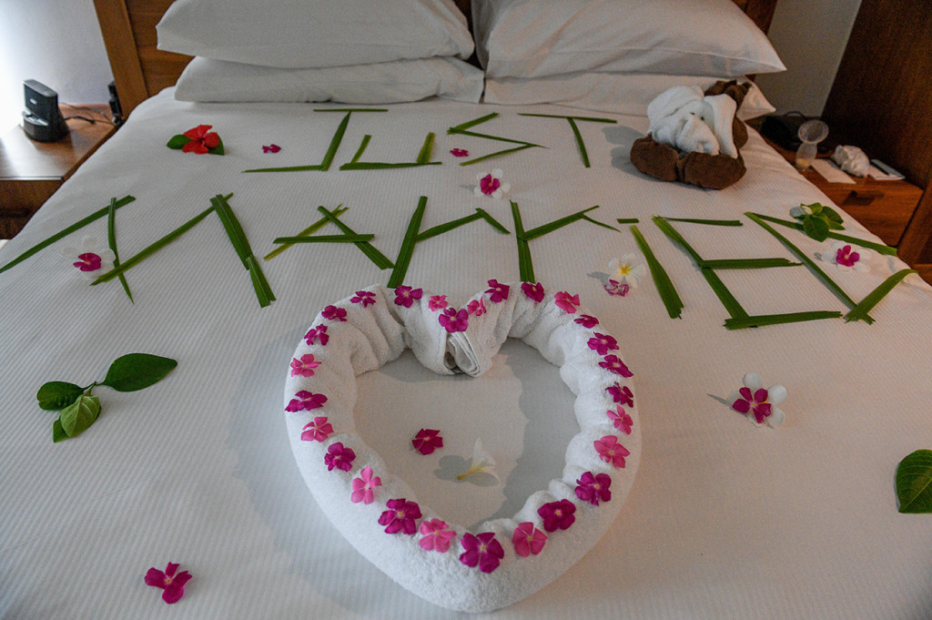 'Just Married' bed spread made of tropical Fiji flowers by the Hilton hotel Denarau