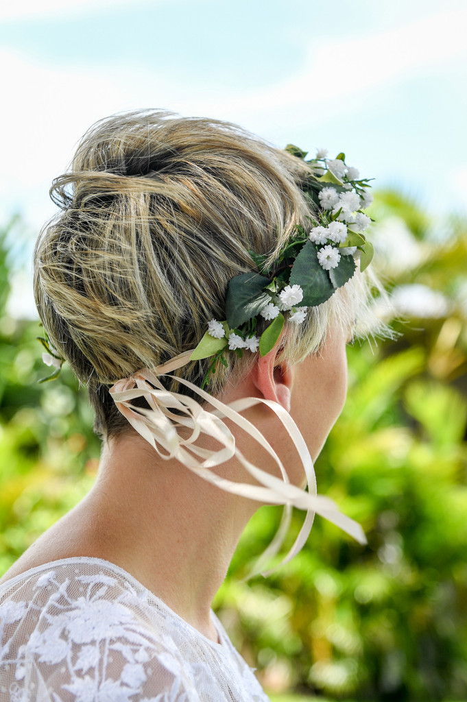 Bridal flower crown made of tropical white flowers by Keepsake bouquets.