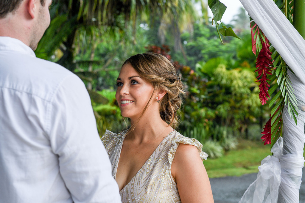 Stunning bride looking into her husband's eyes