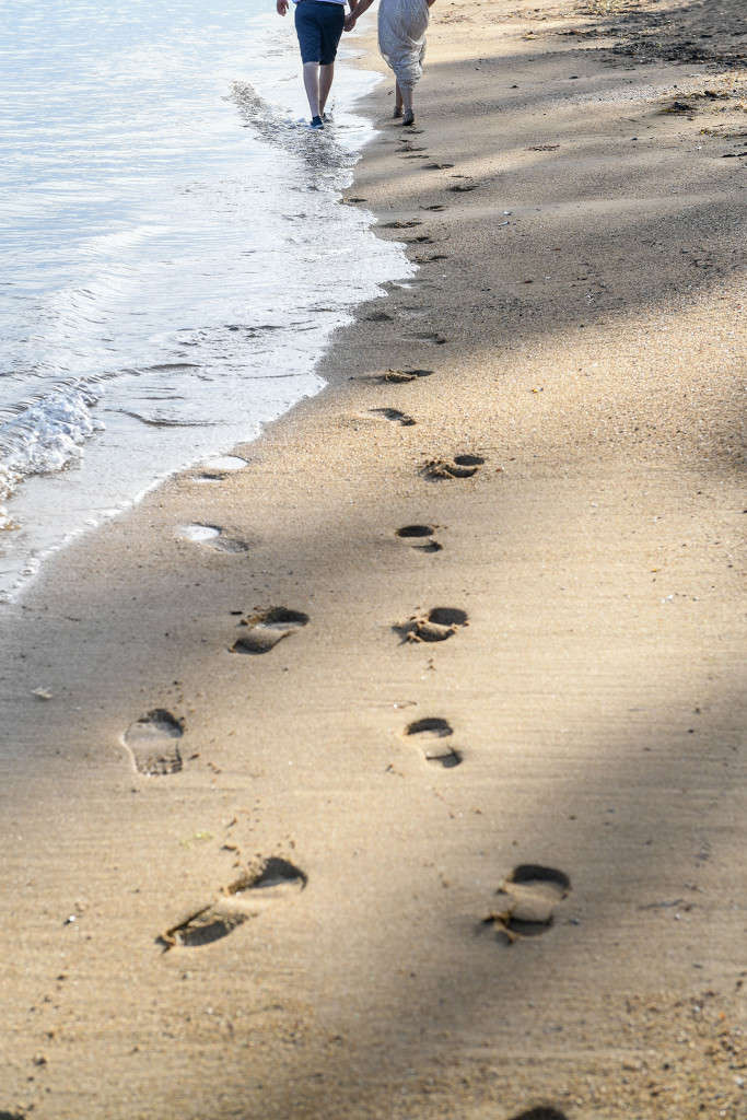 Footsteps in the sand at Naviti Fiji