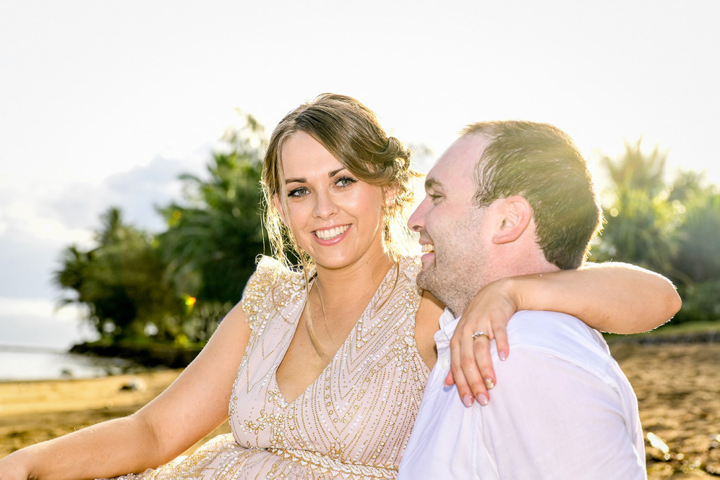 Laugh in the sunset by the bride and groom at Naviti Fiji