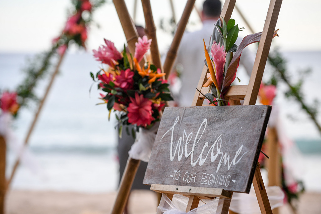 Welcome to our beginning wedding chalkboard by Yatule Resort Fiji