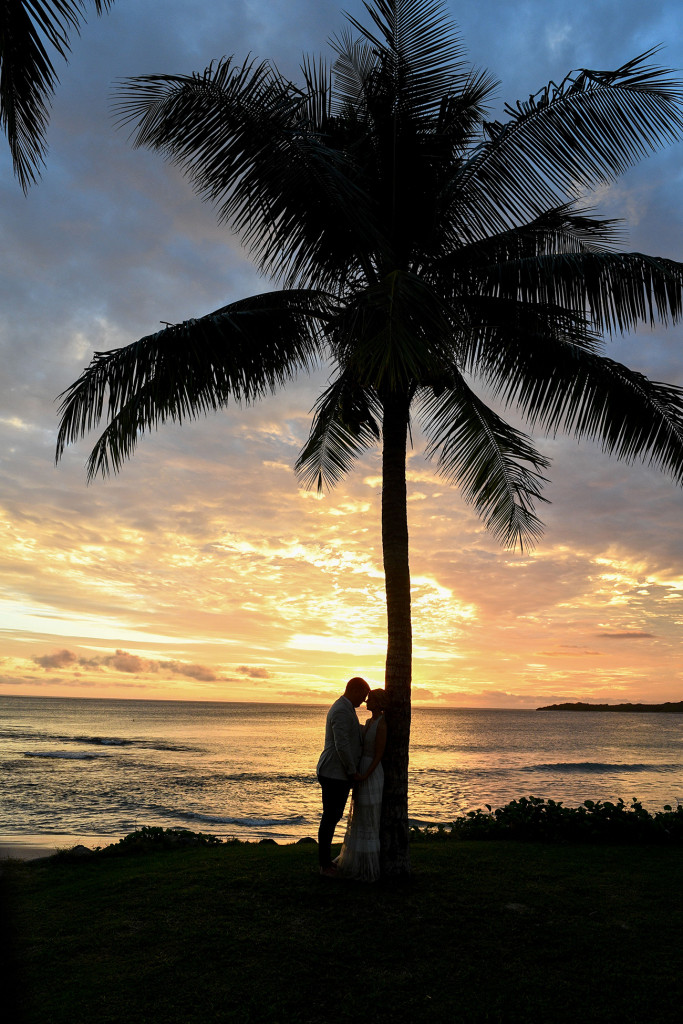 Silhouette of Bride and groom kissing against a palm tree in the golden Fiji sunset