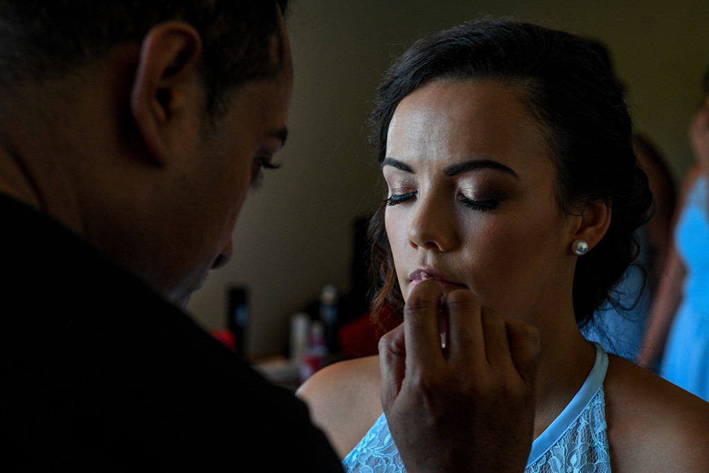Closeup of a bridesmaid's makeup being done by Totoka Hair & Makeup Fiji