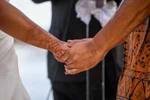 Closeup bride and groom holding hands