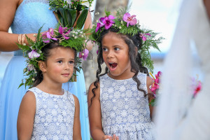 Cheeky flowergirl gasps at the ceremony