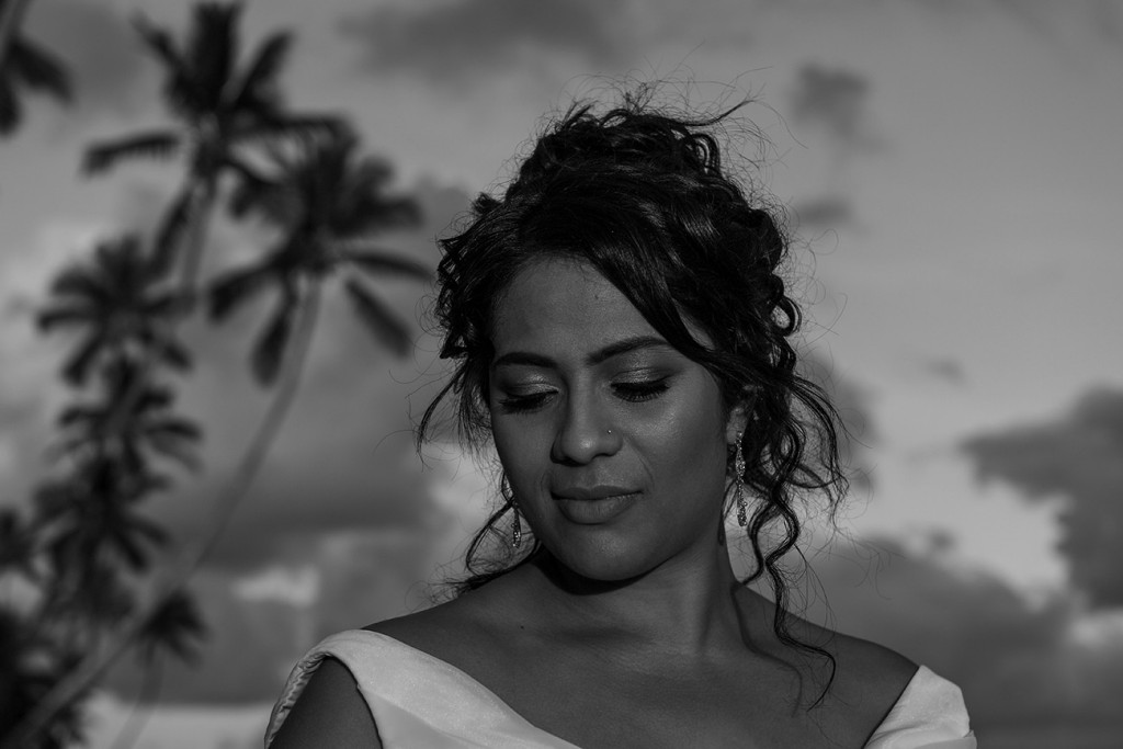 Monochrome photo of the stunning bride