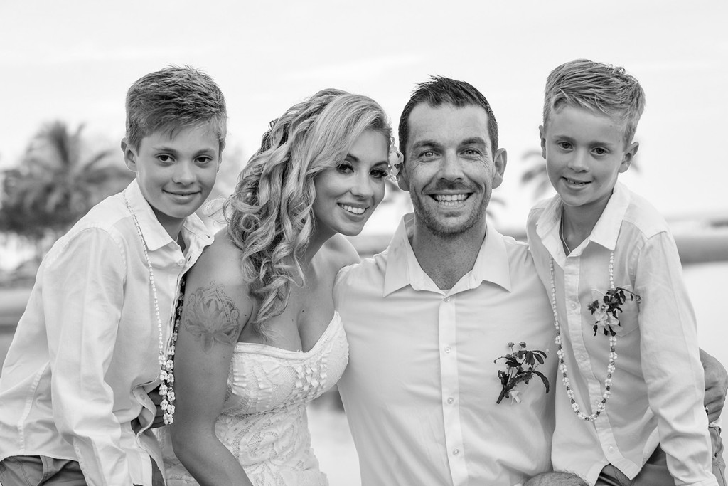 The happy family smile in a monochrome portrait