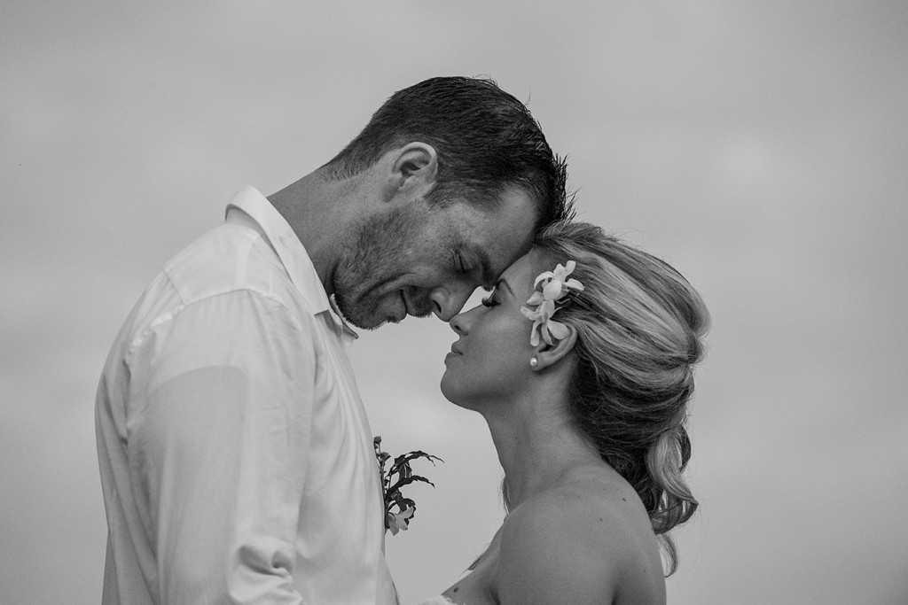 Monochrome portrait of the couple sharing an intimate moment
