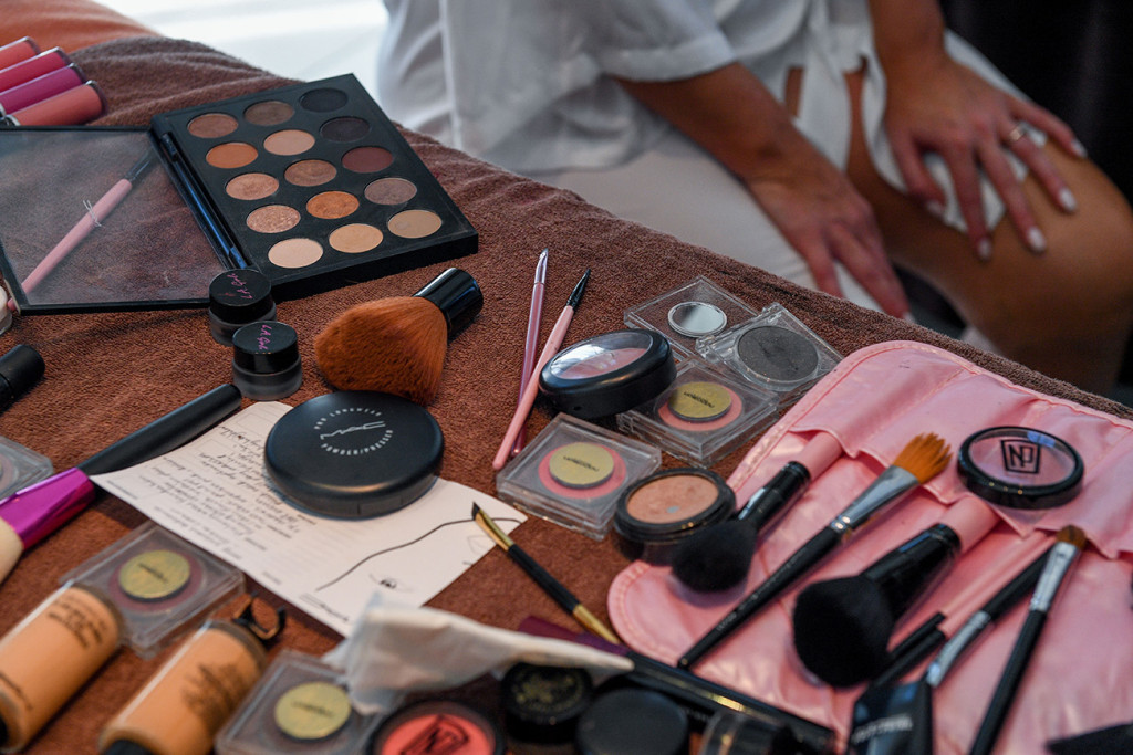 Intercontinental full hair and make up kit laid out