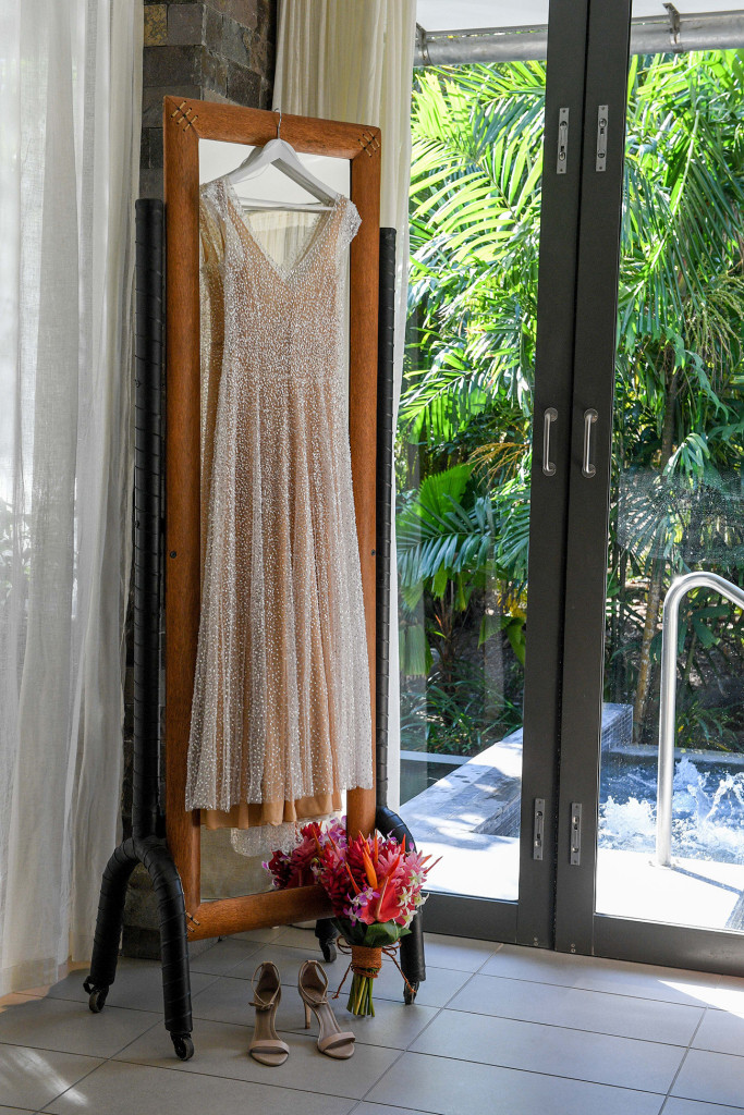 Shimmering egg-white wedding dress by Anna Campbell