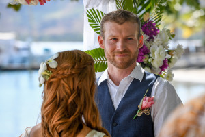Emotional groom at ceremony