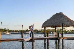 Passionate kiss on dock
