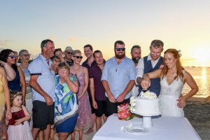 Cake cutting at sunset