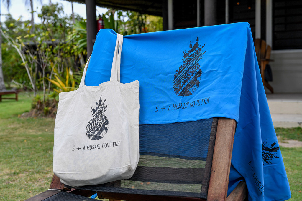 Cream tote bag and blue towel by Musket Cove Fiji