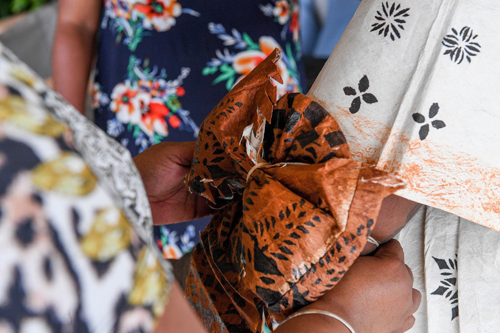 Closeup of a bow tied on a traditional Masi skirt, traditional Fijian wedding outfit